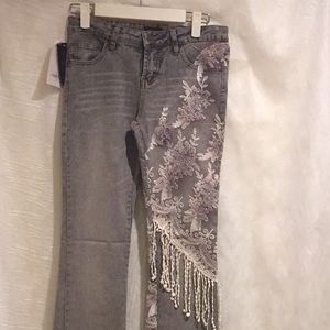 Grey jeans embroidery :beaded